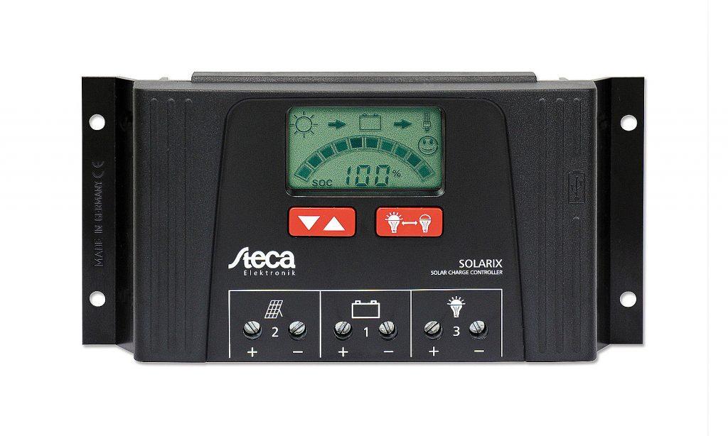 Regulador Steca 25 A con pantalla LCD y salida USB