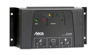 Regulador de carga a bateria de 12/24 V 25 A con salida USB