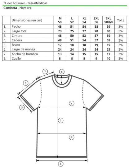 Tallas camiseta hombre